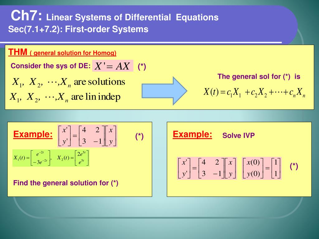 PPT - Ch7: Linear Systems of Differential Equations PowerPoint