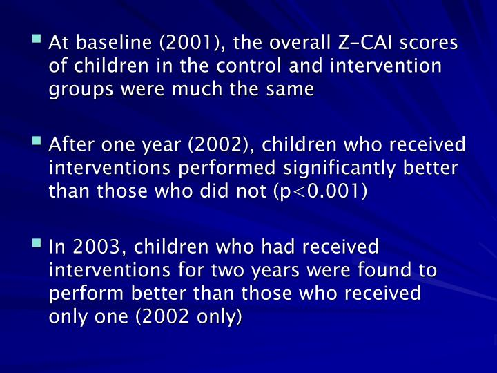 At baseline (2001), the overall Z-CAI scores of children in the control and intervention groups were much the same