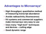 advantages to microarrays