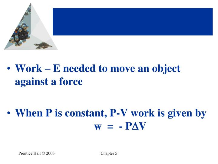 Work – E needed to move an object against a force