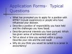 application forms typical questions