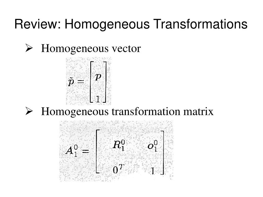 PPT - Homogeneous vector Homogeneous transformation matrix