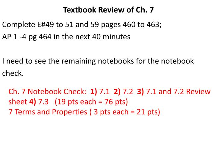 Textbook Review of Ch. 7