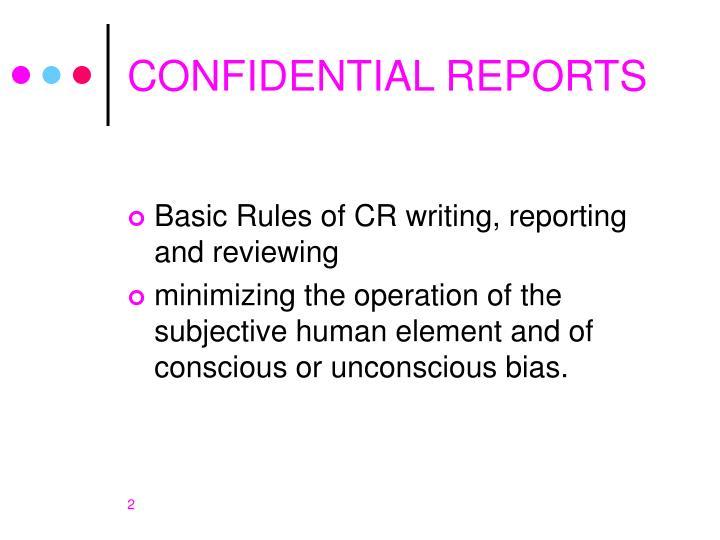 Confidential reports1