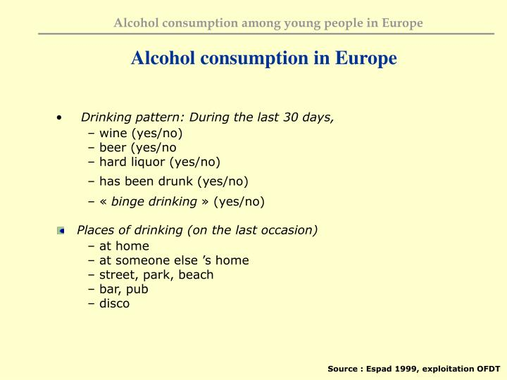 Alcohol consumption in Europe
