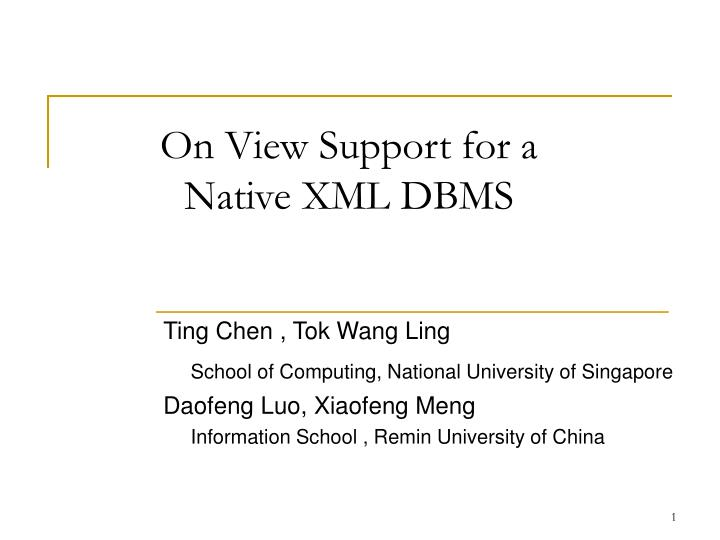 On view support for a native xml dbms