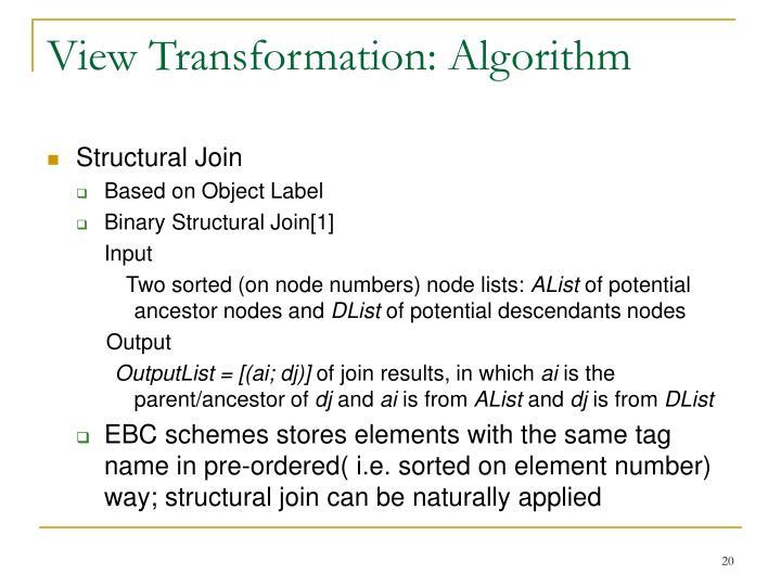 View Transformation: Algorithm