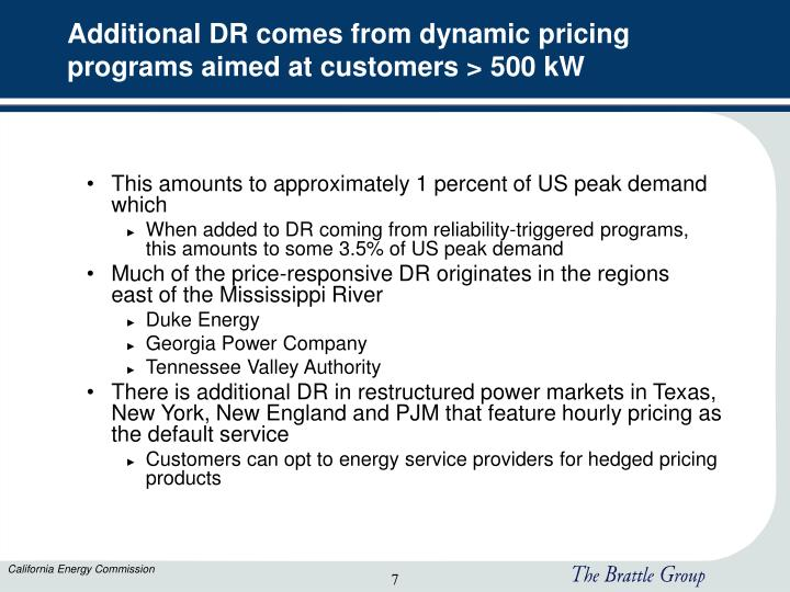 Additional DR comes from dynamic pricing programs aimed at customers > 500 kW