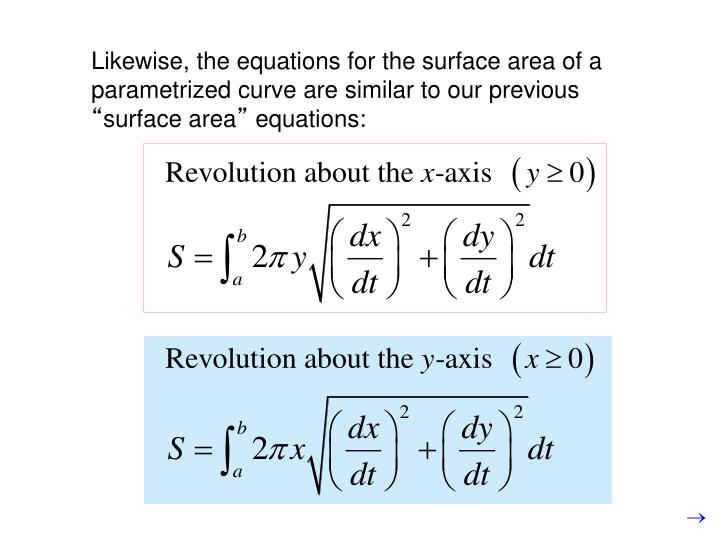 Likewise, the equations for the surface area of a parametrized curve are similar to our previous