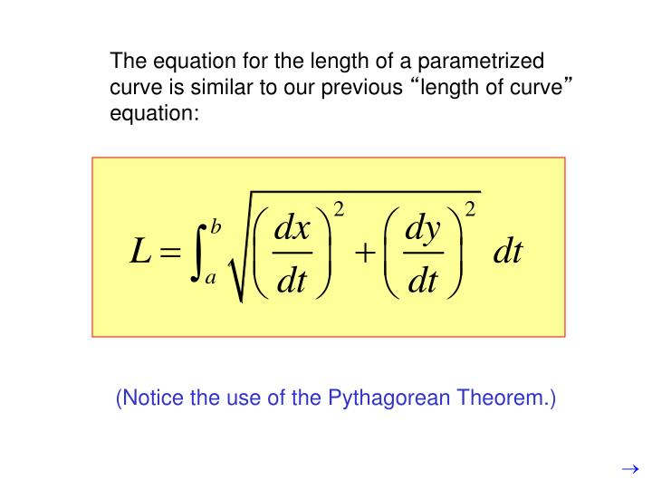 The equation for the length of a parametrized curve is similar to our previous