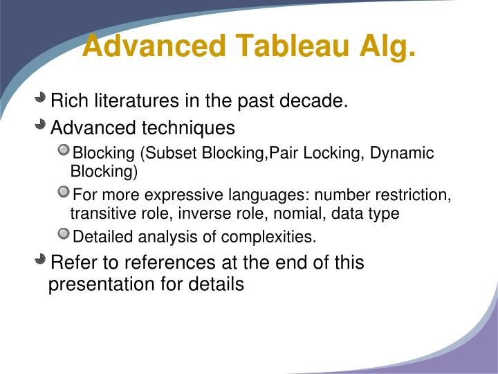 Advanced Tableau Alg.