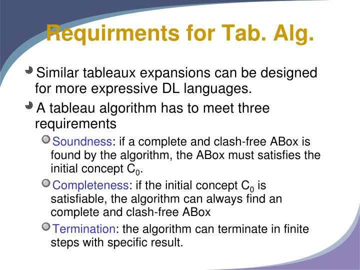 Requirments for Tab. Alg.