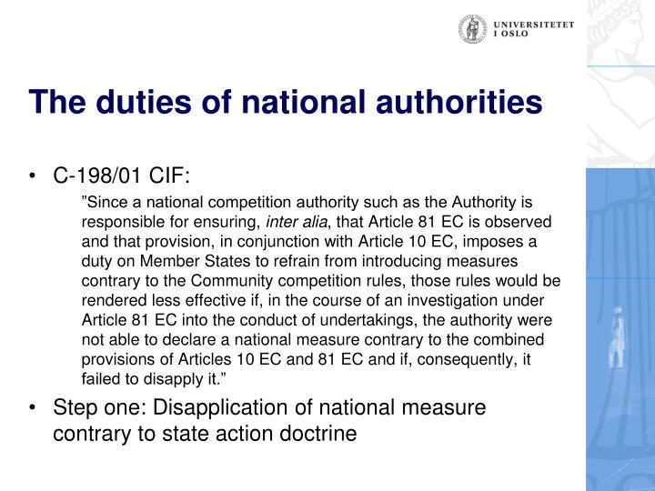 The duties of national authorities