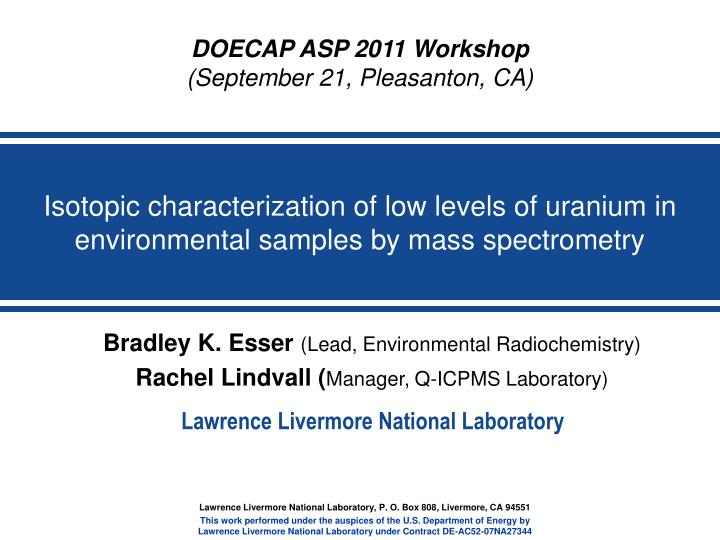 isotopic characterization of low levels of uranium in environmental samples by mass spectrometry n.