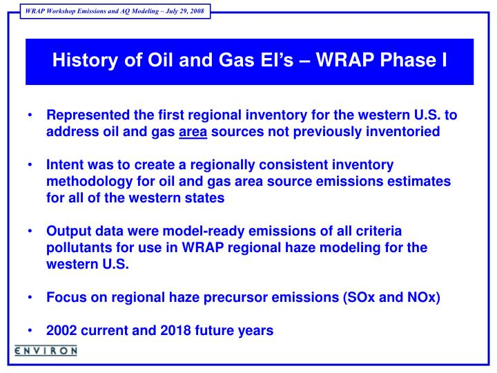 History of Oil and Gas EI's – WRAP Phase I