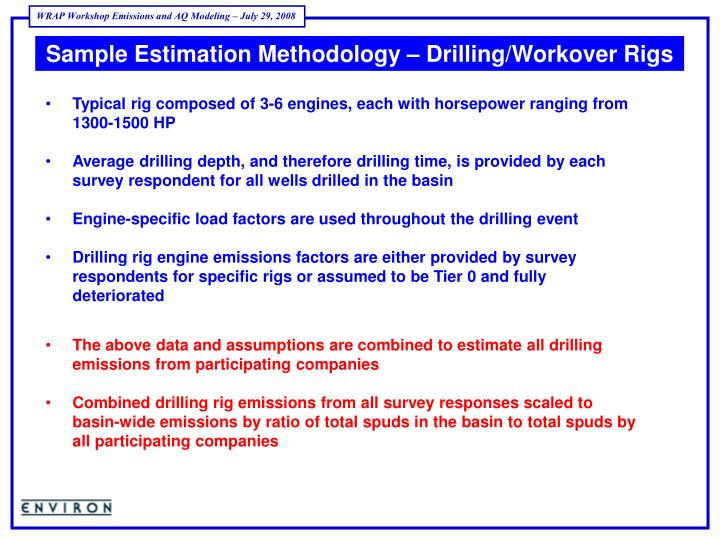 Sample Estimation Methodology – Drilling/Workover Rigs