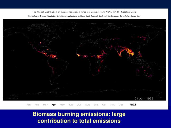 Biomass burning emissions: large contribution to total emissions