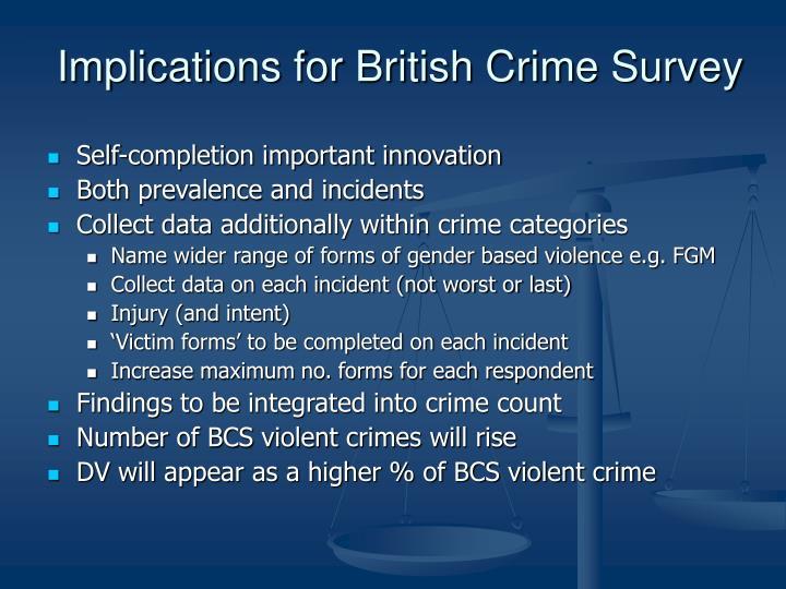 Implications for British Crime Survey