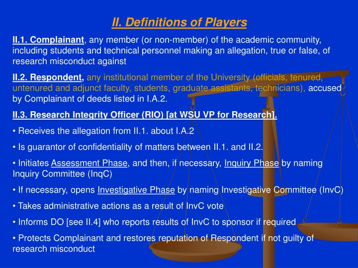 II. Definitions of Players