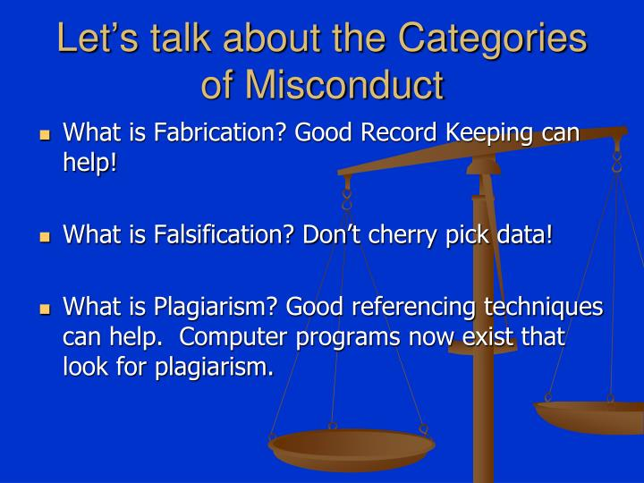 Let's talk about the Categories of Misconduct