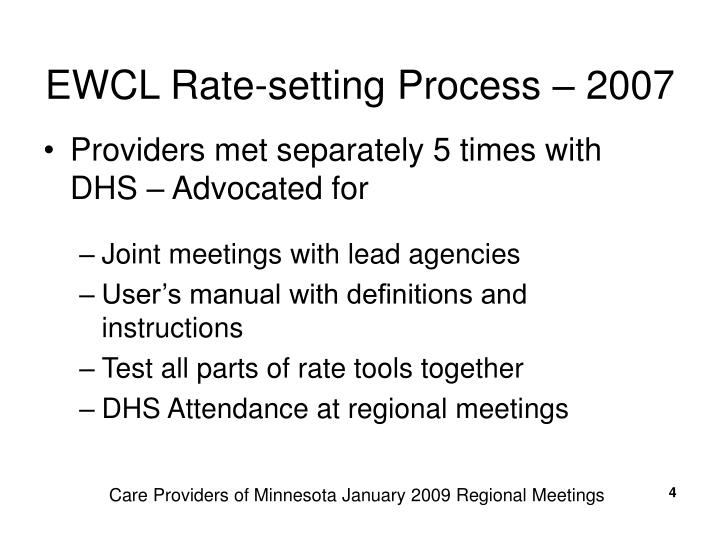 EWCL Rate-setting Process – 2007