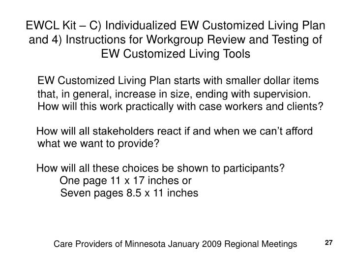 EWCL Kit – C) Individualized EW Customized Living Plan and 4) Instructions for Workgroup Review and Testing of EW Customized Living Tools