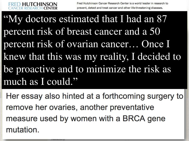 """My doctors estimated that I had an 87 percent risk of breast cancer and a 50 percent risk of ovarian"