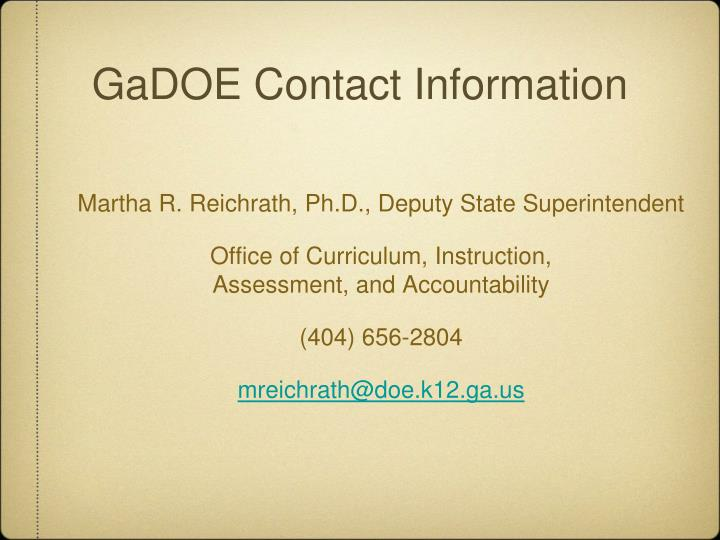 GaDOE Contact Information