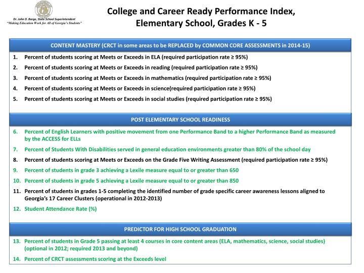 College and Career Ready Performance Index,