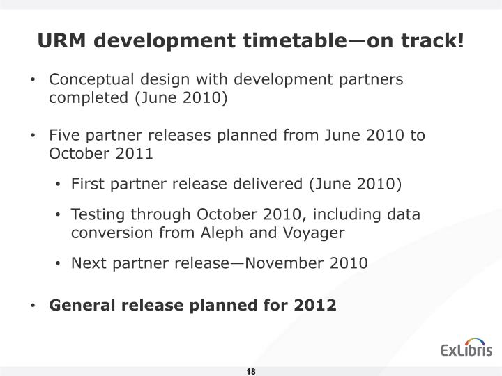 URM development timetable—on track!