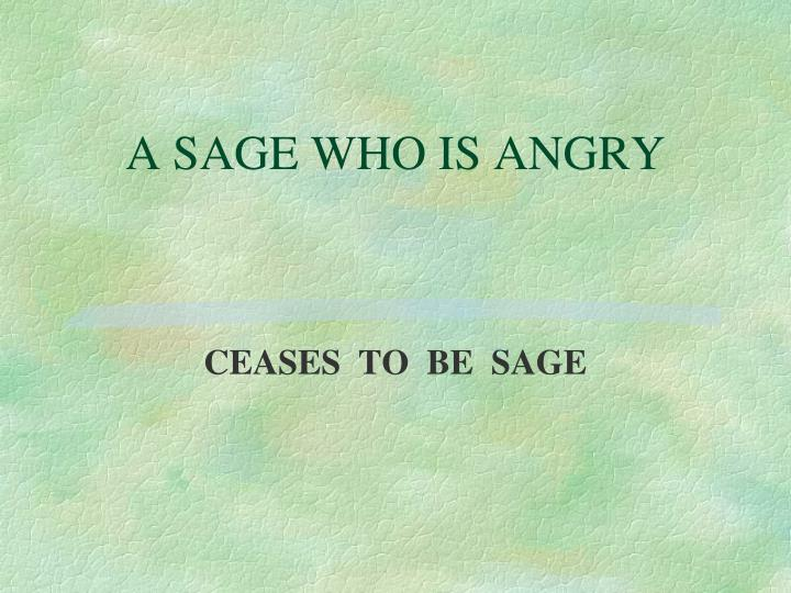 A SAGE WHO IS ANGRY