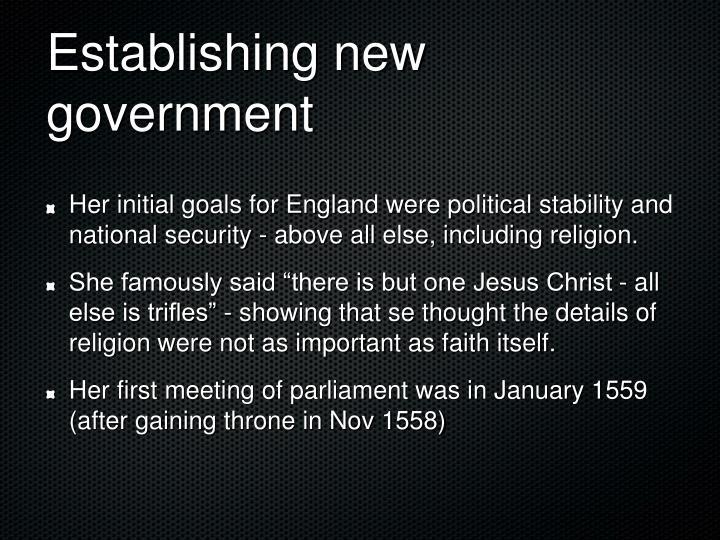 Establishing new government