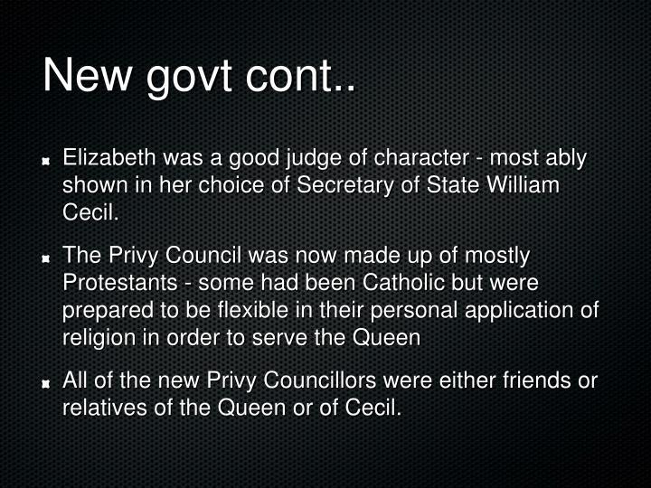New govt cont