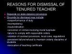 reasons for dismissal of tenured teacher