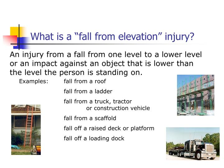 """What is a """"fall from elevation"""" injury?"""