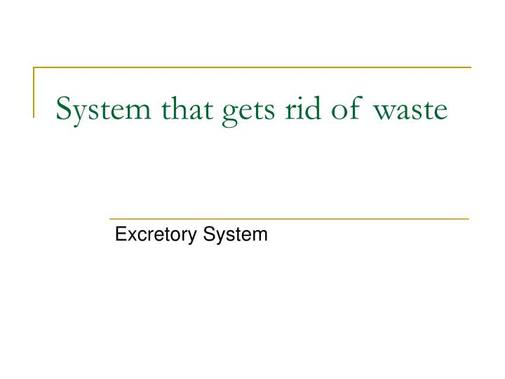 System that gets rid of waste