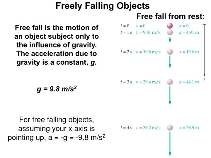free fall physics The time elapsed during this interval of free fall was calculated using the known constant g a mass was attached to the end of a length of paper tapeobjective this lab had two objectives: (1) to calculate the acceleration of an object in free fall.