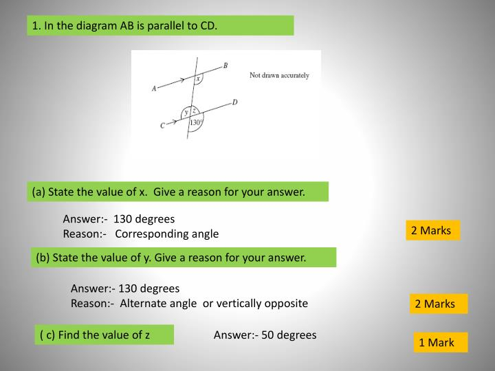 1. In the diagram AB is parallel to CD.