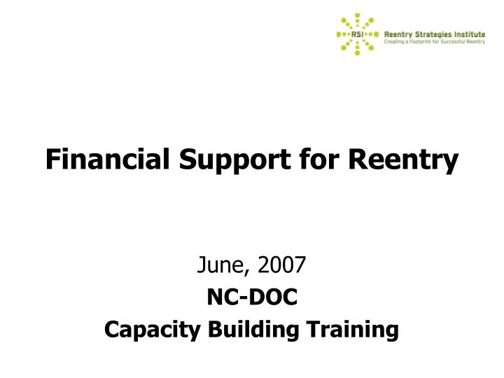 financial support for reentry n.