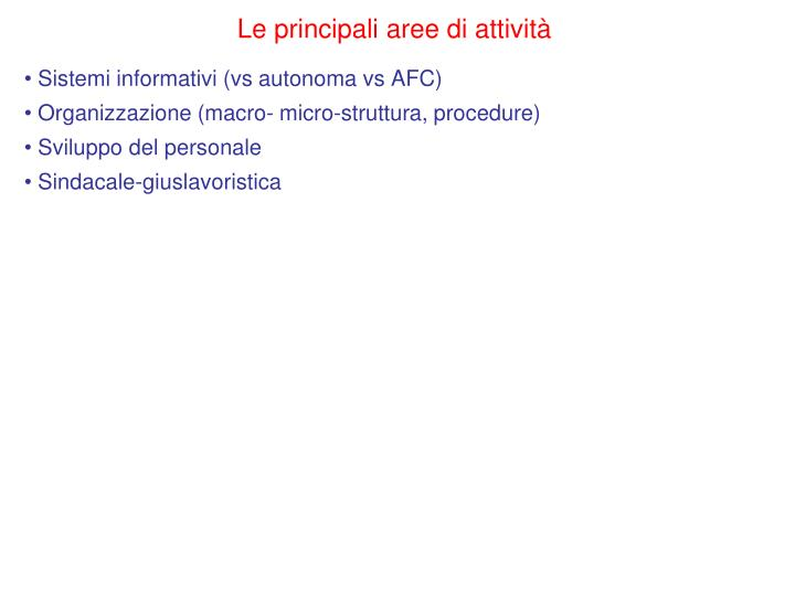 Le principali aree di attività