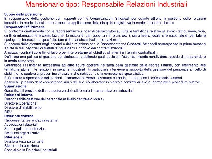Mansionario tipo: Responsabile Relazioni Industriali