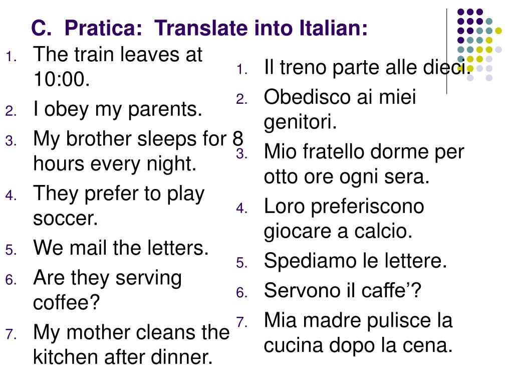 Translations Into Italian