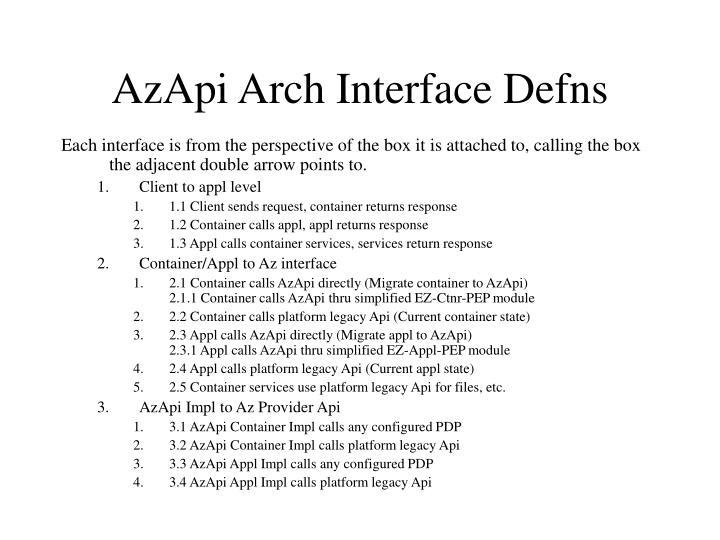 AzApi Arch Interface Defns