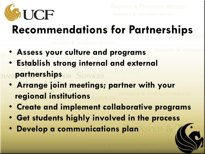 Recommendations for Partnerships