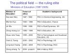 the political field the ruling elite ministers of education 1987 2005