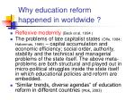 why education reform happened in worldwide
