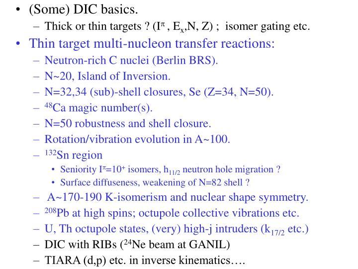(Some) DIC basics.