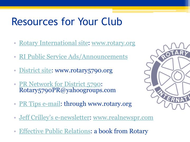 Resources for Your Club