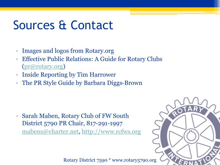 Sources & Contact