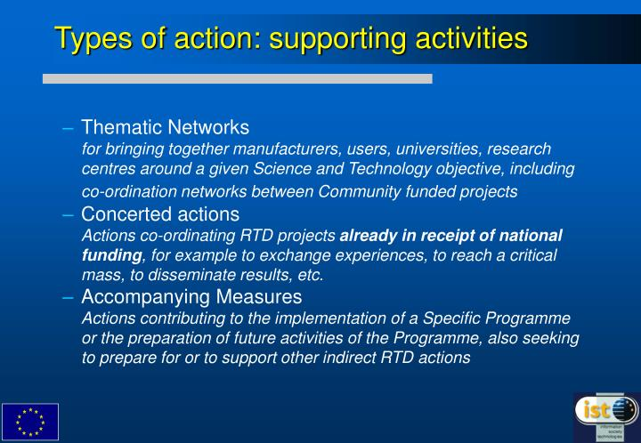 Types of action: supporting activities